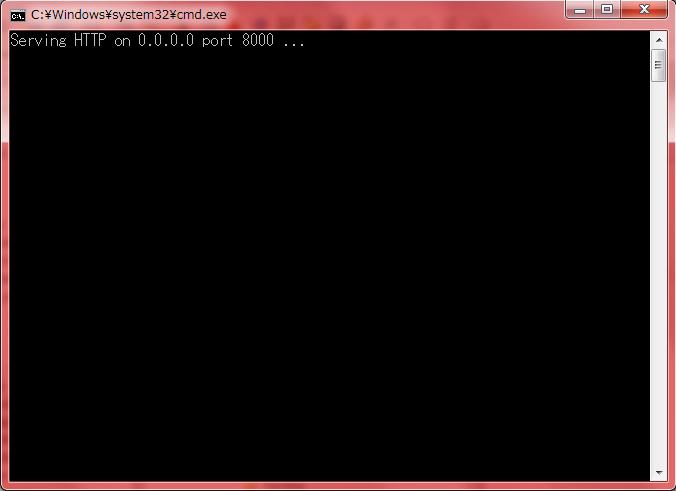 ローカルWebサーバー起動時の画面